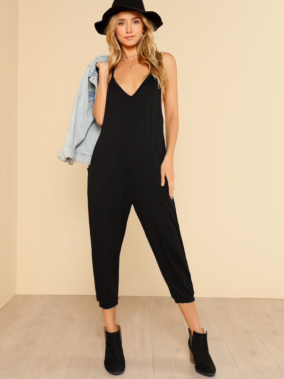 Harem Leg Racer Back Jumpsuit - Black