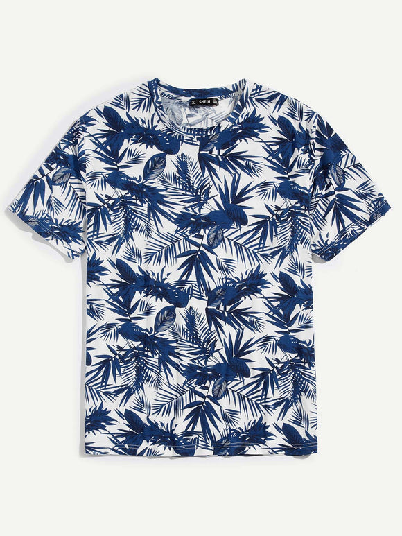 Blue Palm Pattern Print T-Shirt