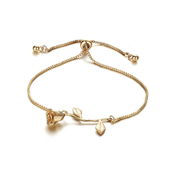 Gold Rose Detail Link Bracelet - IG Studio