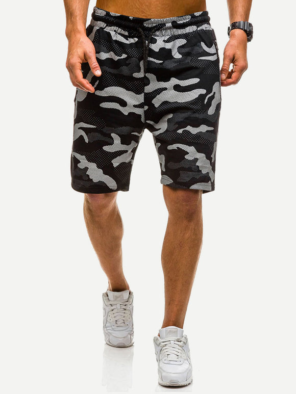 Athletic Camo Drawstring Shorts