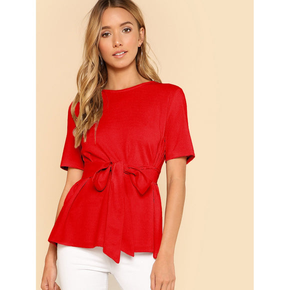 Self-Tie Keyhole Back Classic Red Blouse