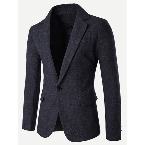Split Back One Button Dapper Blazer - Black