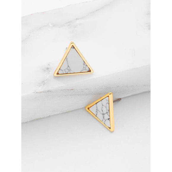 Gold Triangle Marbled Stone Earrings - IG Studio