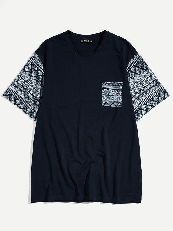 Contrast Mixed Print Sleeve & Pocket Tee -Dark