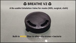 ♻ BREATHE V2 ♻ N95 Exhalation Valve with BRASS Filter