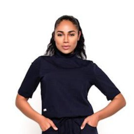 Turtleneck Scrub Top (Navy)