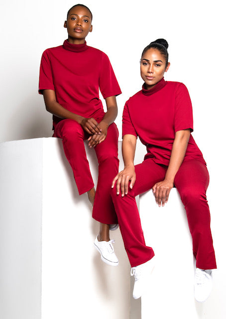 Turtleneck Scrub Top (Red)