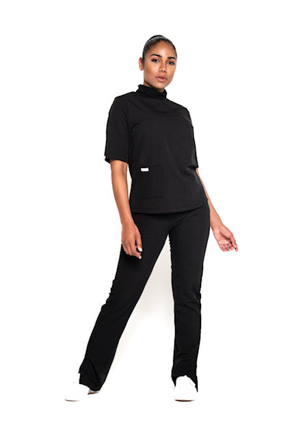 Turtleneck Scrub Top (Black)