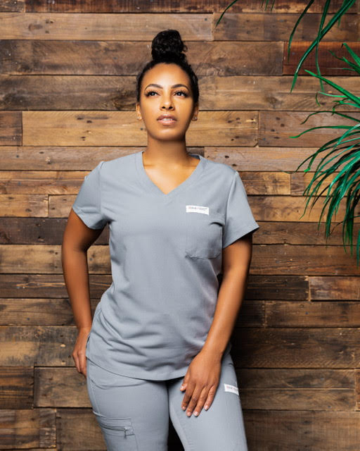 Scrub Addict Gray V-Neck