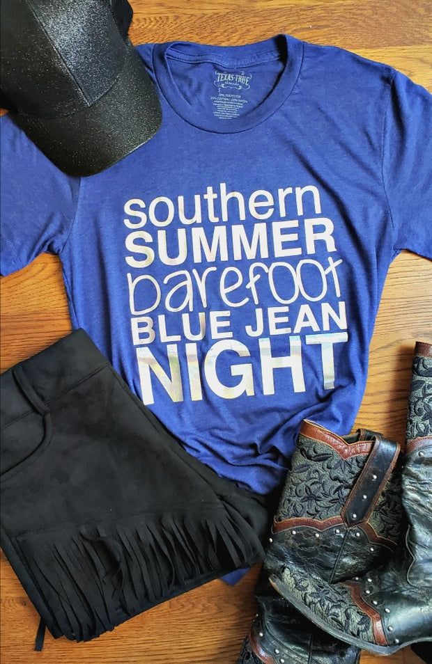 Southern Summer Barefoot Blue Jean Night Tee-Tops-Small-Navy-Southern Comfort Boutique