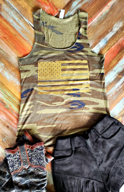 Gold Foil USA Flag Tank-Tops-Medium-Southern Comfort Boutique