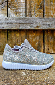 Live....Love....Sparkle Glitter Sneakers-Shoes-6-White-Southern Comfort Boutique