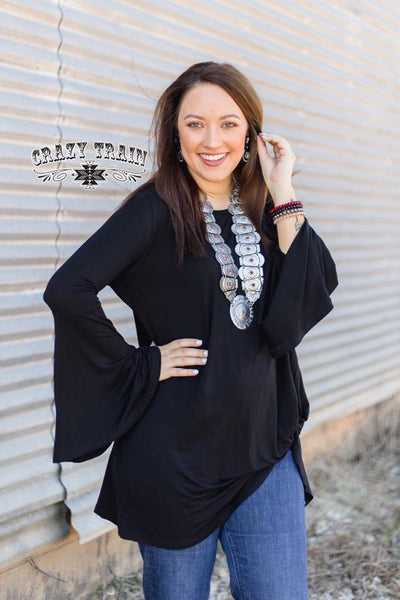 Midnight Bell Sleeve Knot Top