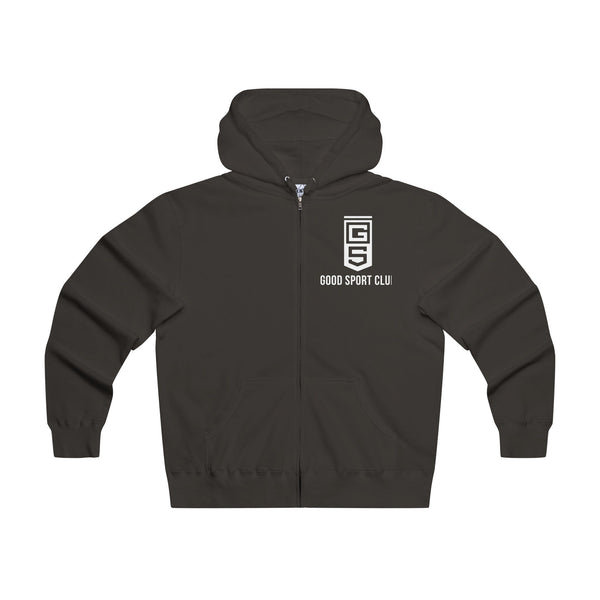 Black Hooded Zip Sweatshirt-Good Sport Club