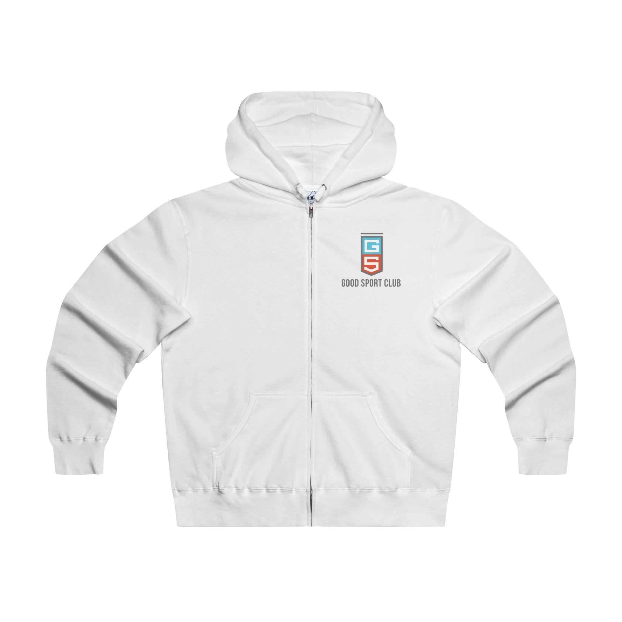 White Hoodie Zip Sweatshirt-Good Sport Club