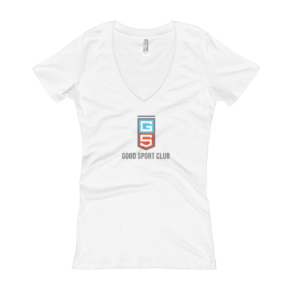 White Women's V-Neck T-shirt-Good Sport Club