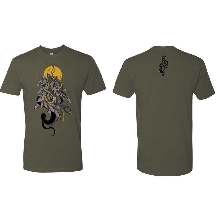SnakeMum T-shirt by Fibs - Military Green