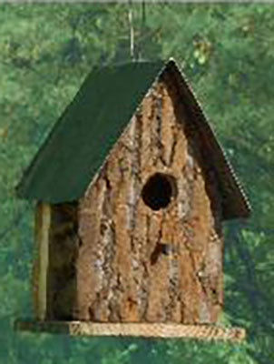 Twin Oaks Bark Tin Roof Birdhouse