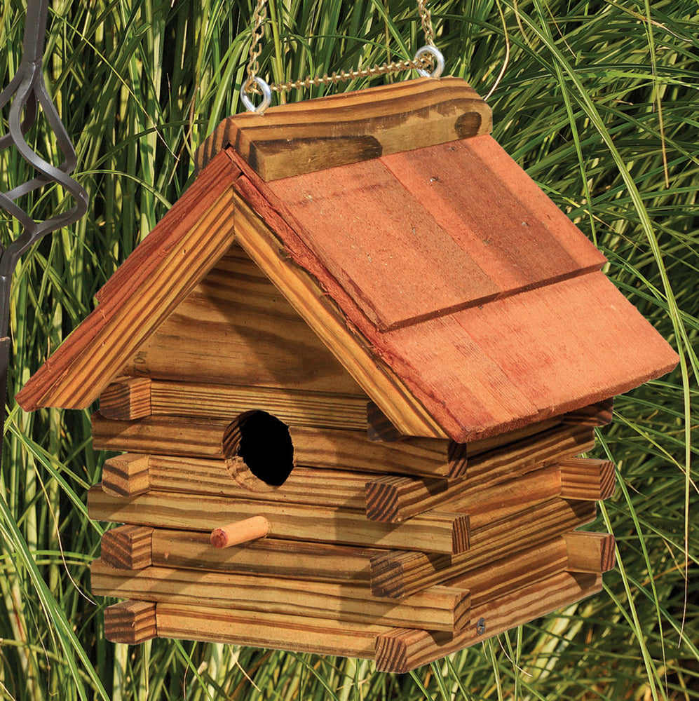 Twin Oaks Log Cabin Birdhouse with Cedar Roof