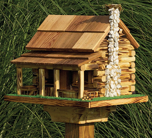 Twin Oaks Log Cabin Feeder with Rock Chimney