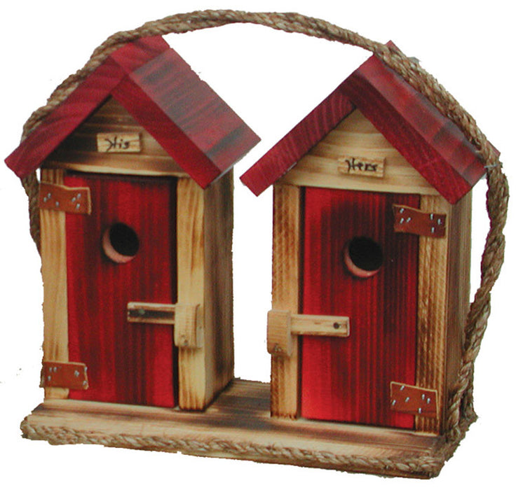 Twin Oaks Large His/Hers Outhouse Birdhouse