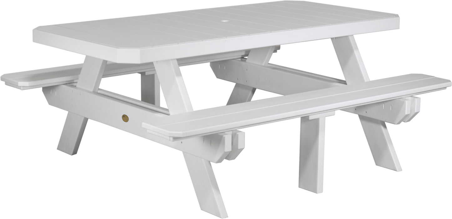 LuxCraft 6' Rectangular Picnic Table