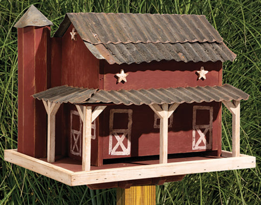 Twin Oaks Primitive Barn Feeder w/ Tin Roof