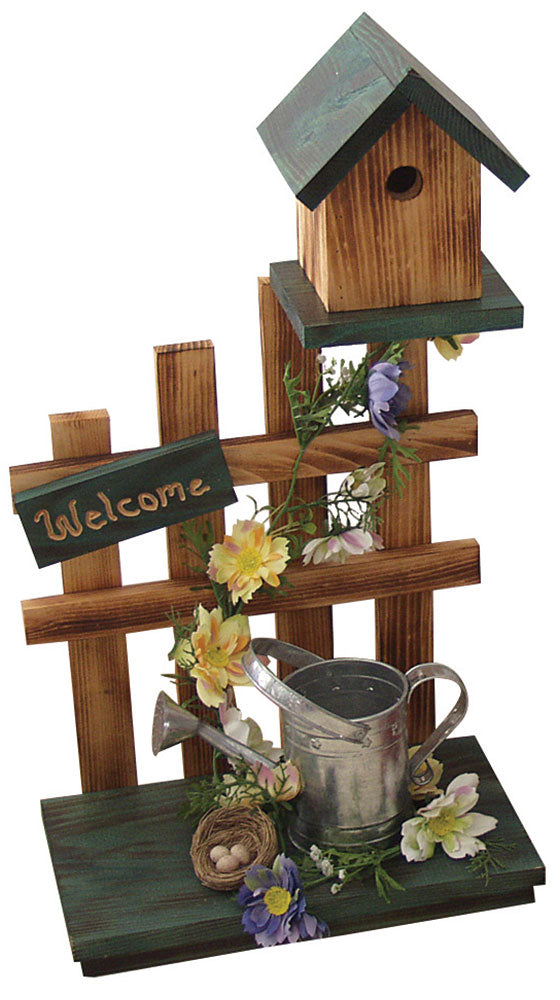 Twin Oaks Picket Fence Birdhouse w/ Watering Can