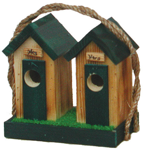 Twin Oaks Small His/Hers Outhouse Birdhouse