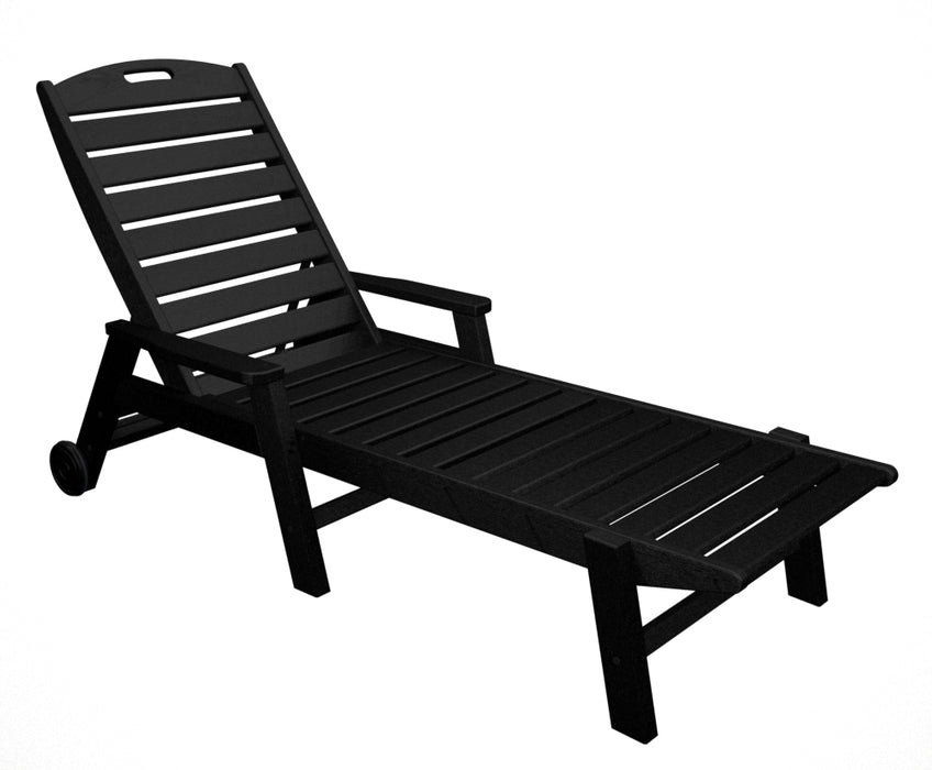 Polywood Nautical Wheeled Chaise w/ Arms - Stackable