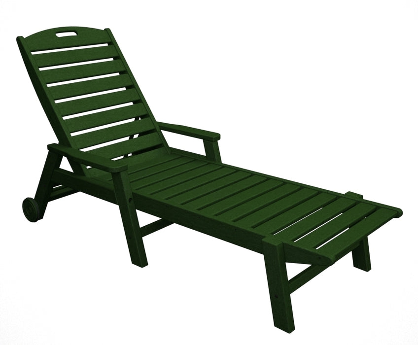 Polywood Nautical Chaise w/ Arms & Wheels - Stackable