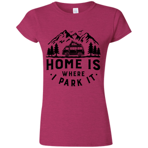 Women's Softstyle T-Shirt - Home Is Where I Park It - Black Graphic