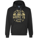 Men's Heavyweight Hoodie - Home Is Where I Park It - Gold Graphic