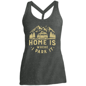 Women's Cosmic Twist Back Tank - Home Is Where I Park It - Gold Graphic