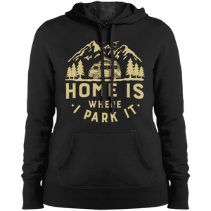 Women's Heavyweight Hoodie - Home Is Where I Park It - Gold Graphic