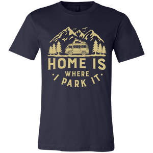 Men's Slim Fit T-Shirt - Home Is Where I Park It - Gold Graphic