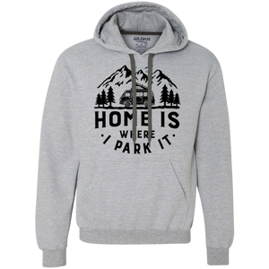 Men's Heavyweight Hoodie - Home Is Where I Park It - Black Graphic