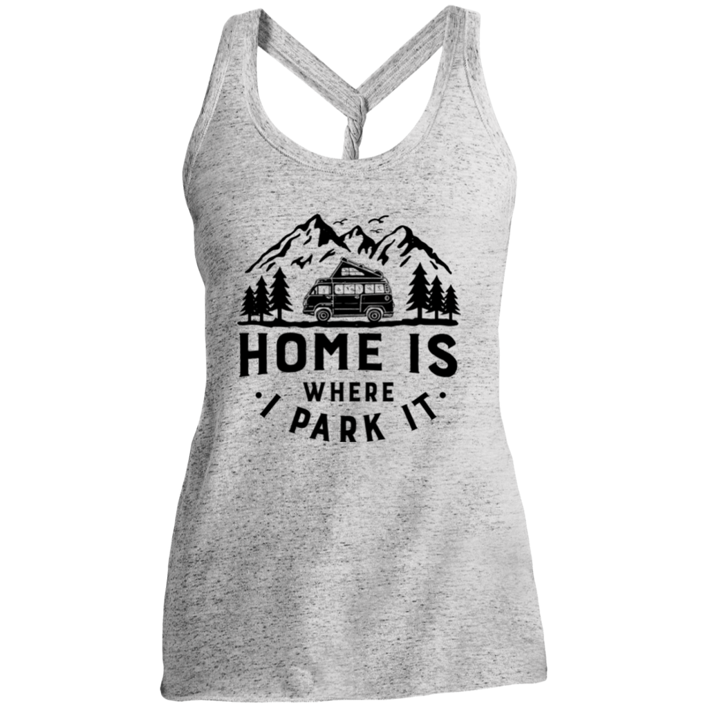 Women's Cosmic Twist Back Tank - Home is Where I Park It - Black Graphic