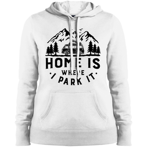 Women's Heavyweight Hoodie - Home Is Where I Park It - Black Graphic