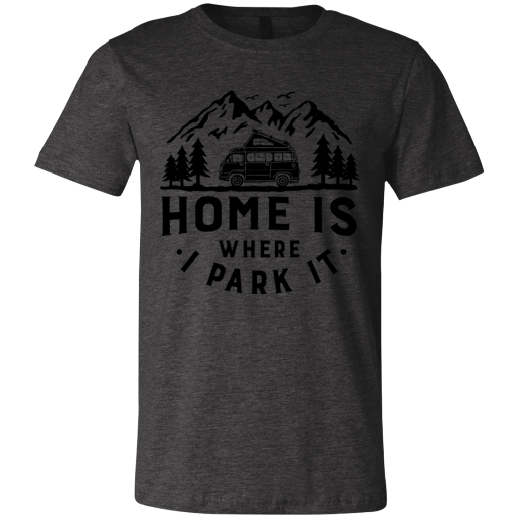 Men's Slim Fit T-Shirt - Home Is Where I Park It - Black Graphic