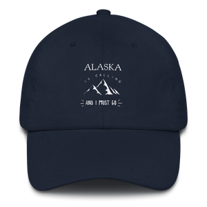 Dad Hat - Alaska Is Calling - White Design