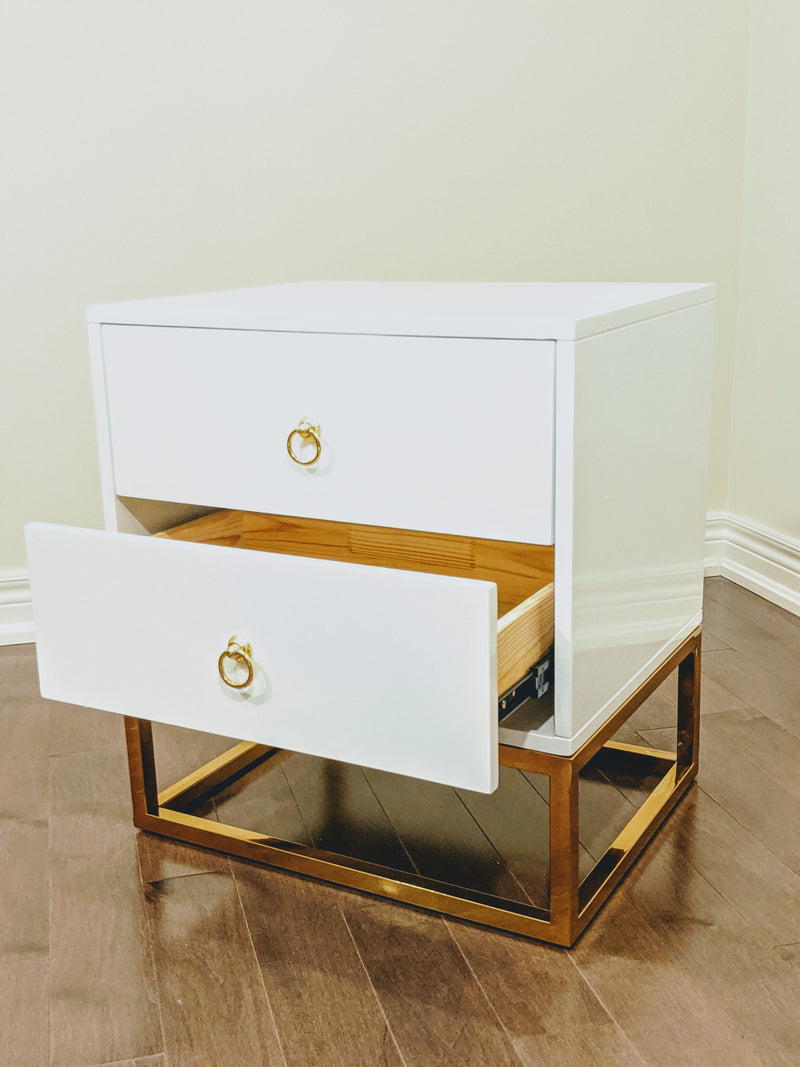WHITE DELMAS GOLDEN NIGHTSTAND / SIDE TABLE