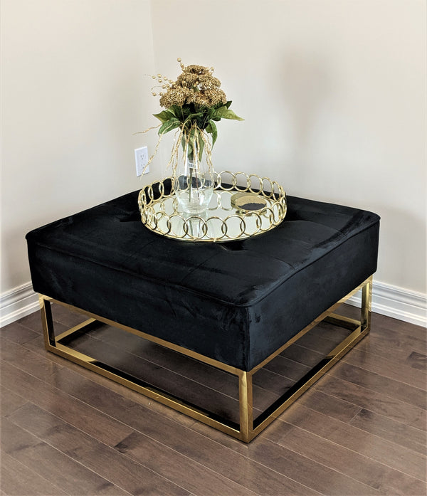 WELLINGTON BLACK MODERN GOLDEN UPHOLSTRY OTTOMAN