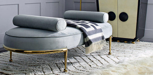 Golden & Velvet Modern Day Bed/ Settee