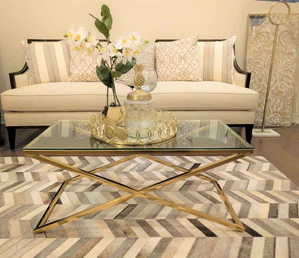 GOLDEN ZIG ZAG STAINLESS STEEL COFFEE TABLE