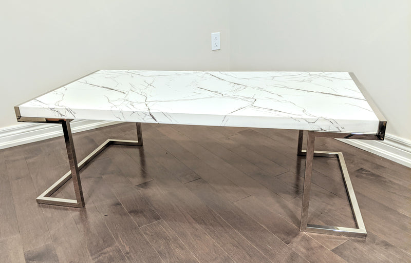 Miko White Faux Marble Coffee Table