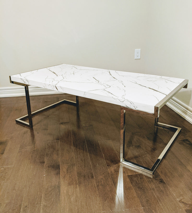 Miko White Faux Marble Chrome Legs Coffee Table