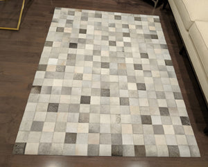 boxed Cowhide Area Rug