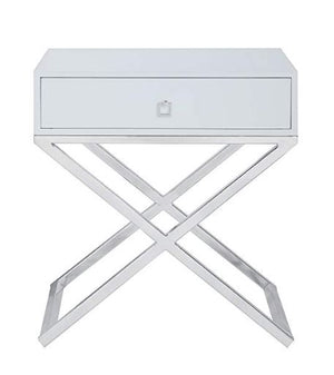 CHROME AND WHITE NAPIER GOLDEN NIGHTSTAND / SIDE TABLE
