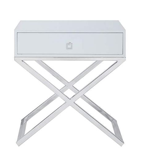 Chrome And White Napier Nightstand/Side Table